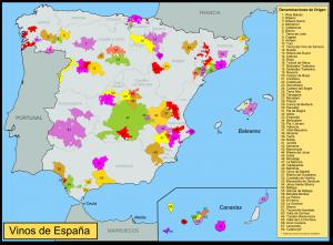 De 68 wijnregio's van Spanje